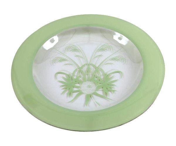 Fynbos Round Glass Platter with Platinum edging. #designer #glassware #green