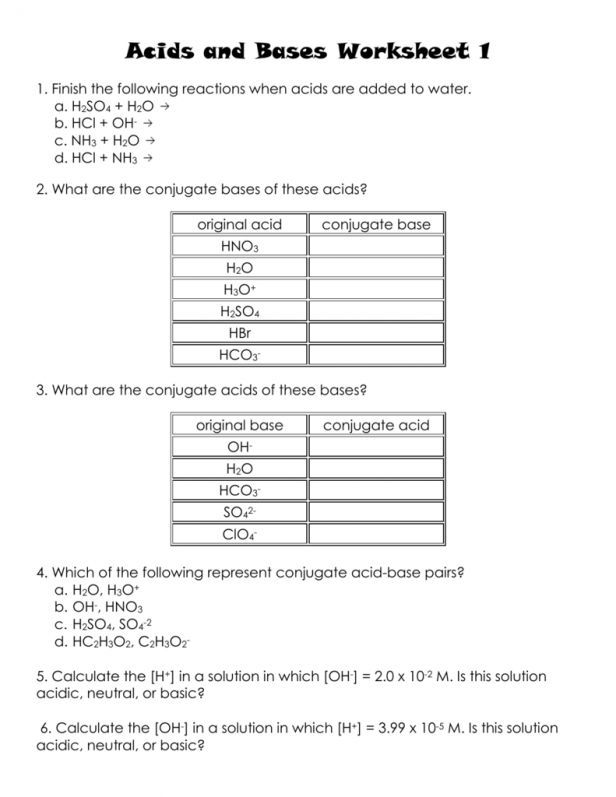 20 Introduction to Acids and Bases Worksheet Answer Key di ...