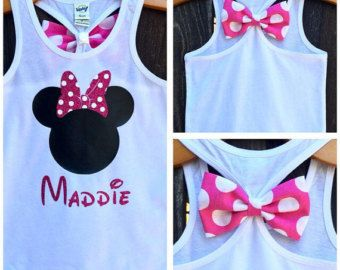 Minnie Mouse Inspired Bow Back Tank Top, Personalized, Disney Tees and Tanks, Baby, Little Girls, Big Girls, Tank Top, Glitter, Sparkle