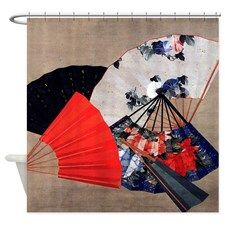 Five Fans By Hokusai Shower Curtain