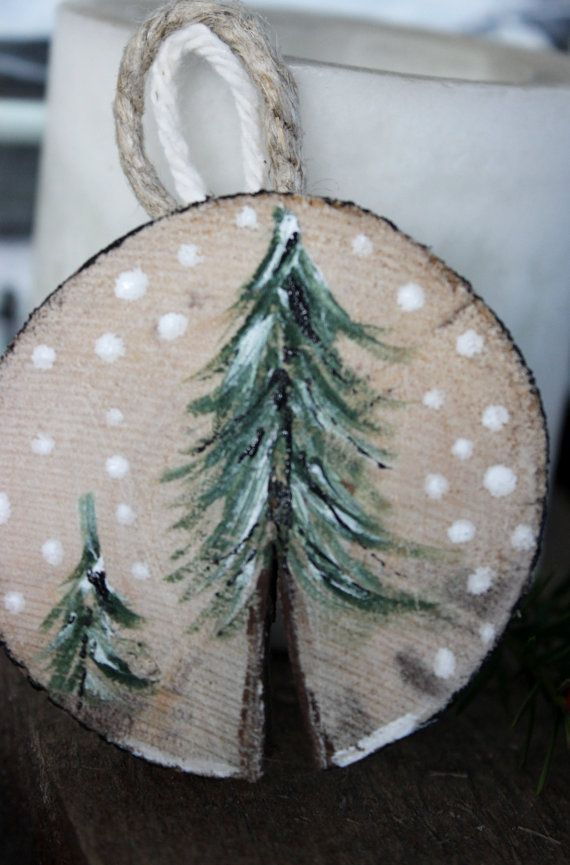 Holiday Ornament For A Rustic Woodland Theme Natural Wood Decoration With  Hand Painted Tree
