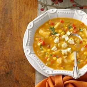 """Thanksgiving's Not Over Yet"" Enchilada Soup (sweet red pepper, onion, celery, olive oil, chicken broth, green enchilada sauce, pumpkin, corn, green chilies, Ranch salad dressing mix, cooked turkey; optional toppings - crumbled queso fresco, shredded cheddar cheese, crushed tortilla chips, avocado, fresh cilantro)"