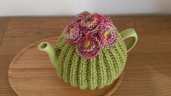 Lime Green hand knitted tea cosy with knitted button by DottyKnits