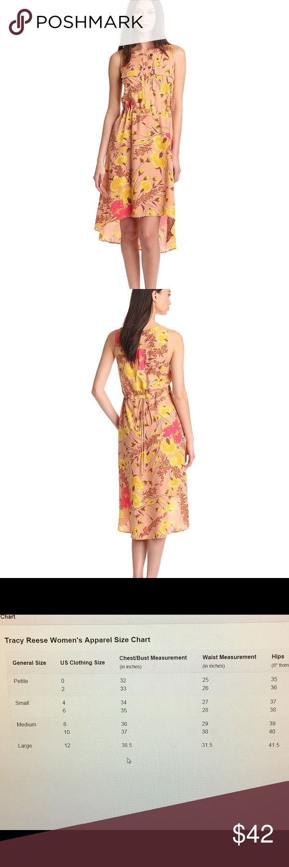 NWT  Plenty - Tracy Reese Wild Orchid Silk Dress This Anthropologie Plenty by Tracy Reese floral dress is brand new with tags. Fits dress size 0-2. Size P-XS.                                                               100% Silk Dry Clean Only Button front detailing Optional cinch waist drawstring in back High low hem Anthropologie Dresses Midi