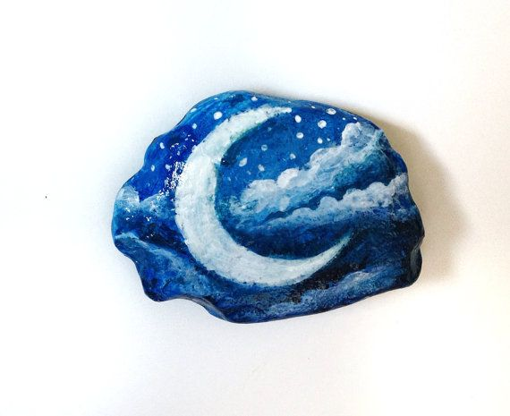 Moon rock painted paperweight stone - painted rock - moon and stars magic moon office decor via Etsy