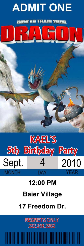 How to Train Your Dragon Birthday Ticket Invitation. $10.00, via Etsy.