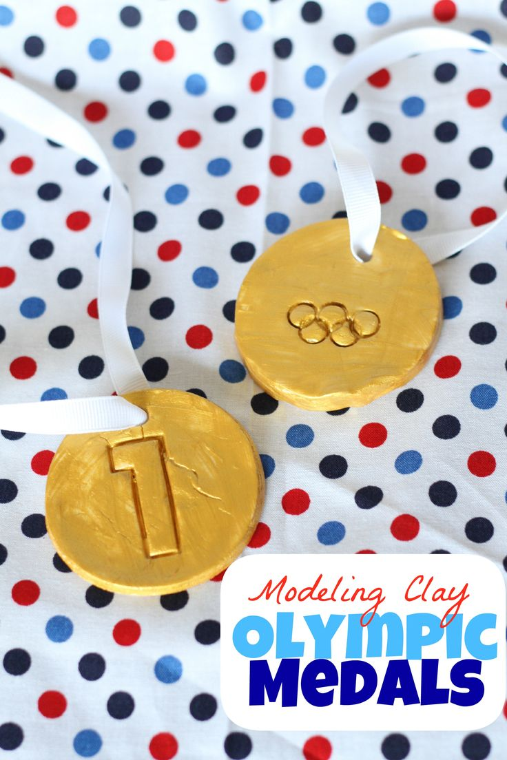 Help your child make his very own Gold medals!  We halved our baking soda modeling clay recipe for the boys to participate in creating their gold-medal mas