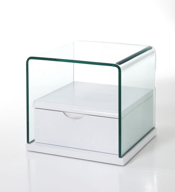 Comodino in vetro con cassetto