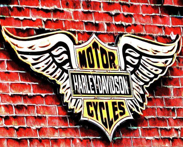 Harley Davidson Wings Art Print by Leslie Montgomery.