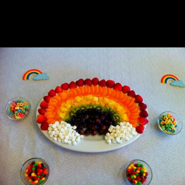 Rainbow fruit trayOz Parties, Clouds Addition, Birthday Parties, Fruit Trays Lov, Marshmallows Clouds, Clouds Bottom, Parties Ideas, Rainbows Parties, Rainbows Fruit Trays