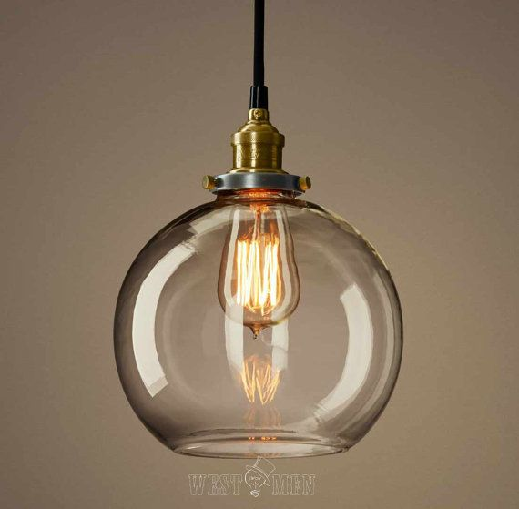 Clear glass globe pendan light modern kitchen pendant lighting ul listed copper base hanging - Modern pendant lighting for kitchen ...