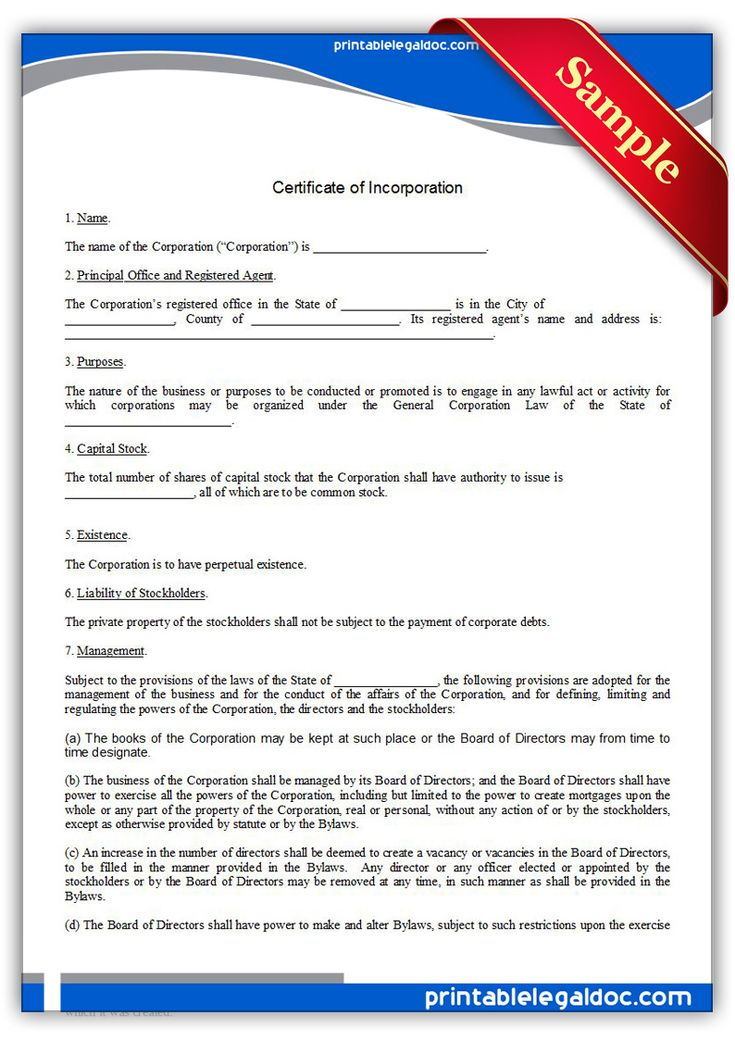 Articles Of Incorporation Template Free Articles of Incorporation – Free Bylaws