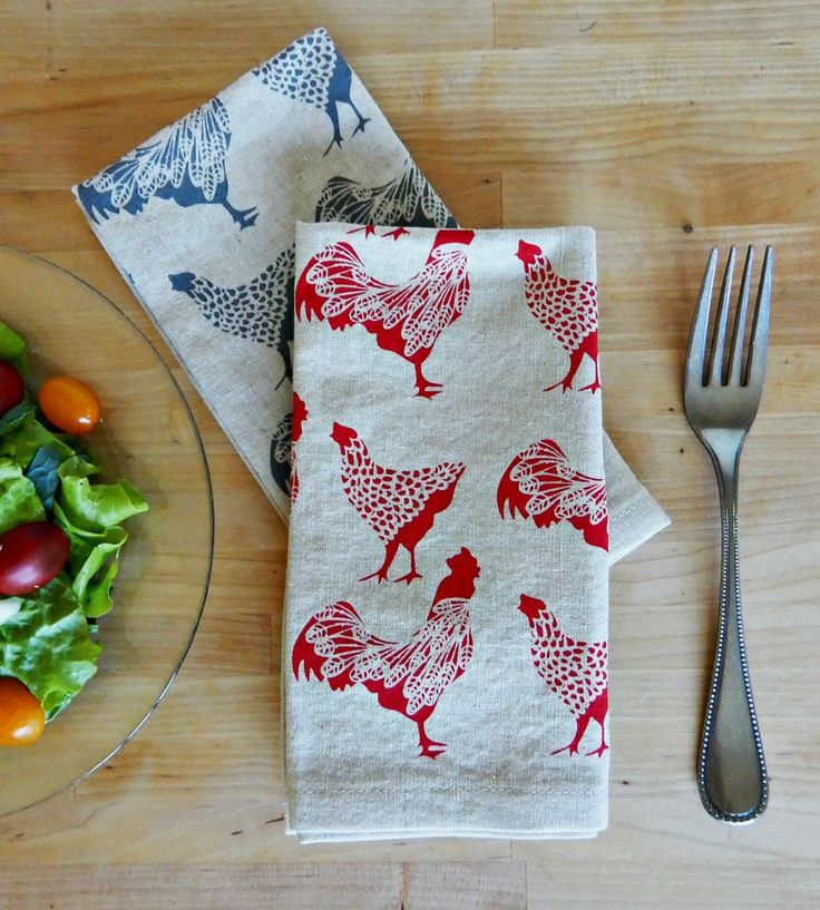 Chicken Fabric Napkins, Set of 4 | A farm fresh set of supper companions, these…