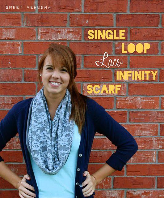 infinity scarf tutorial: Sweet Verbena, Loops Lace, Diy Infinity, Single Loops, Lace Infinity, Scarves, Infinity Scarf Tutorial, Infinity Scarfs Tutorials, Lace Scarfs