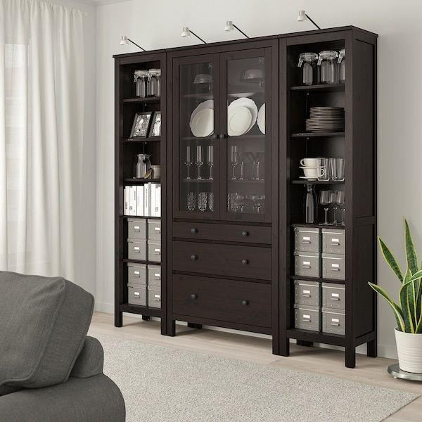 Hemnes Storage Combination W Doors Drawers Black Brown Clear