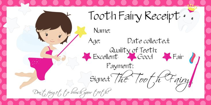 O's first lost tooth – Tooth Fairy Receipt – Free printable