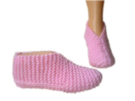 Knit Slippers Pattern Free : 16 best Knitted bed socks images on Pinterest Bed socks, Knitting patterns ...