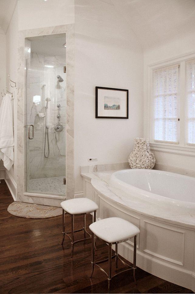 Nice, understated yet elegant trim on tub surround.  Interior Design Ideas