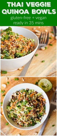 This Thai Veggie Quinoa Bowl recipe is a perfect healthy one pot meal. Full of crunchy flavors and a sharpy and tangy Asian inspired dressing. Healthy and delicious. #vegan #glutenfree