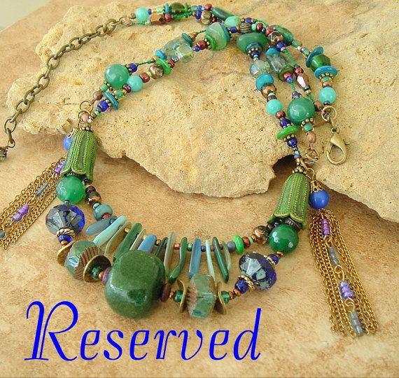 Reserved - Artisan Earthy Statement Necklace, Boho Jewelry, Blue and Green Gemstone Necklace