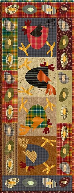 Super cute (assuming) chicken table runner. Not sure. Posted in a language I do not speak, but I love it!