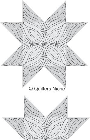 Amazing quilting design for half-square triangle star.
