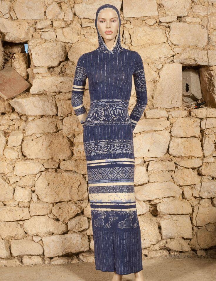 'JEAN PAUL GAULTIER - JEANS' PRINTED JERSEY HOODED DRESS - UK 8 or 10  - (Z) #JeanPaulGaultier #Bodycon #Evening