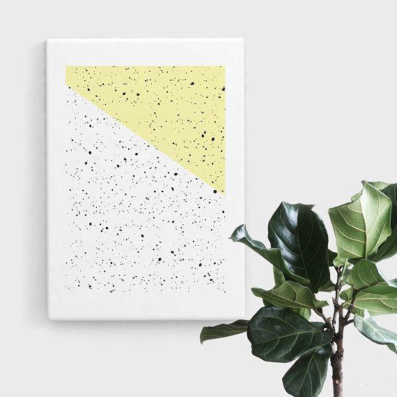 Pastel Yellow Speckled Print, Splatter Print Art, Geometric Art, Abstract Art, Scandinavian Print, Minimalist Art, Digital Art, Print Art