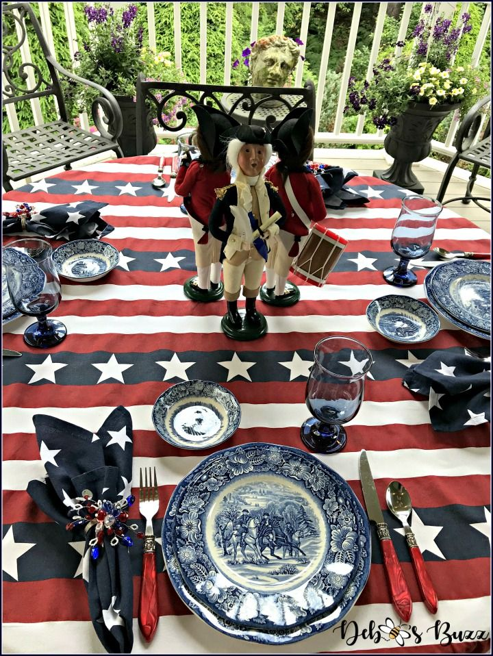 Give Me Liberty Blue Tablescape Celebrates July 4th 4th Of July