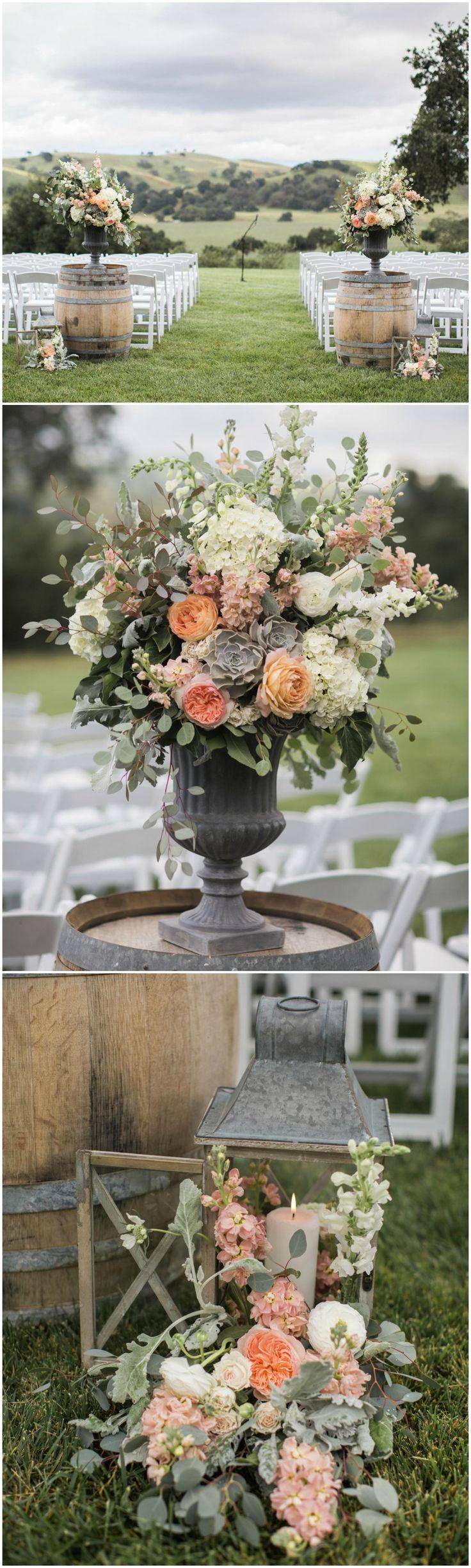 Winery wedding, ceremony ideas, wine barrels, lanterns, flowers, rustic romance // Anna J Photography