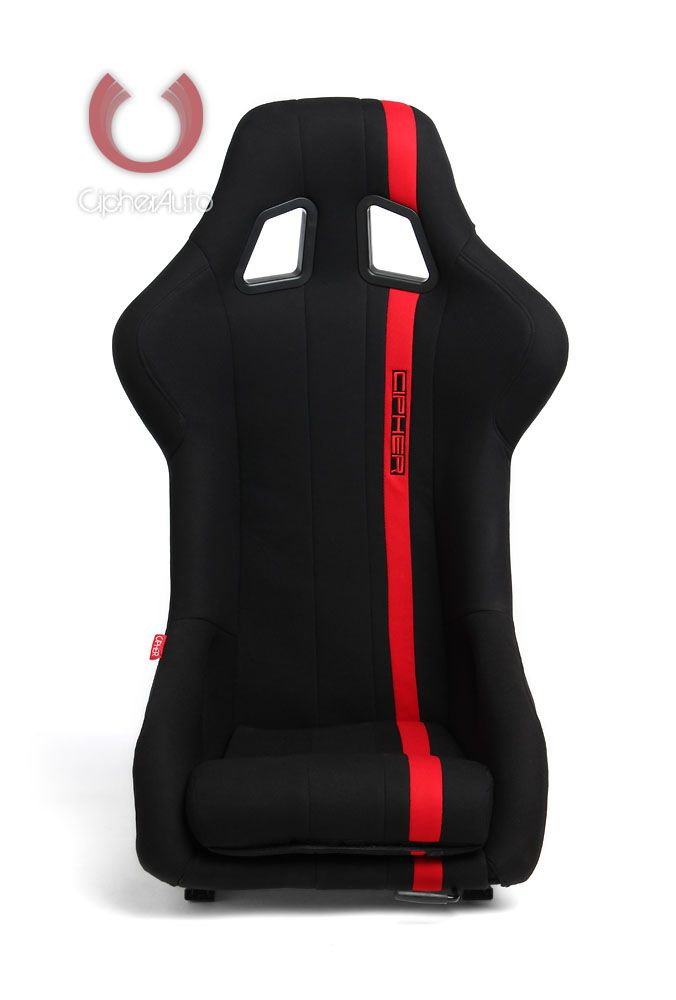 CPA1008 All Black Fabric W/ Red Stripe Cipher Auto Full Bucket Racing Seat - Fiber Glass - Single