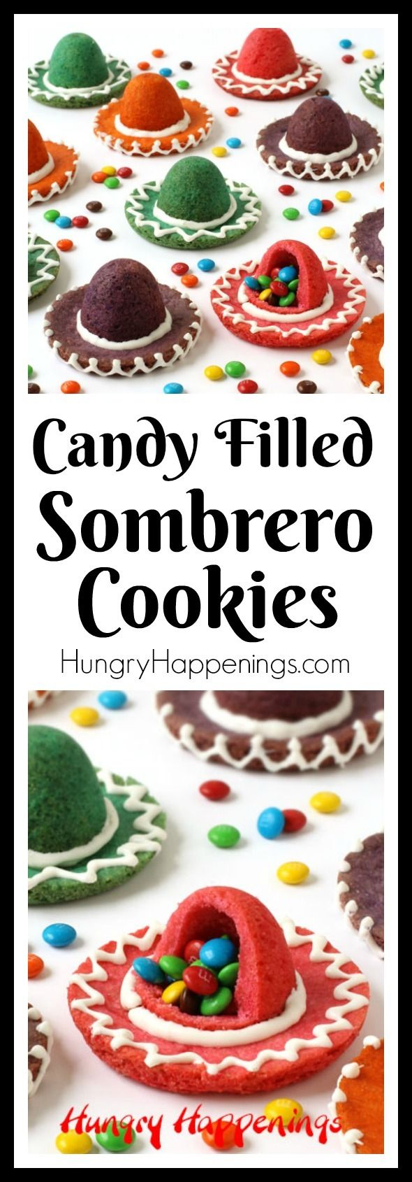 Break open one of these colorful Sombrero Cookies to reveal the surprise inside! These festive candy filled treats will be perfect for Cinco de Mayo or a Fiesta. - from hungryhappenings.com