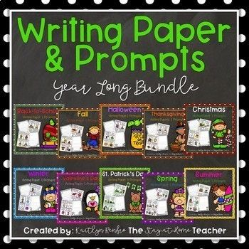 """Are you looking for a way to focus your students' writing while still encouraging creativity? I've got you covered! These monthly writing papers and prompts will allow your students to use their imagination during writing time if """"free write"""" just isn't quite working for"""
