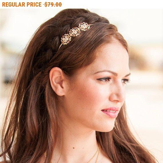 20% OFF - CIJ SALE Delicate Flower Hair Band - Bridal Hair Accessories - Bridal Headband - Bridal Head Piece - Wedding Hair Accessory -