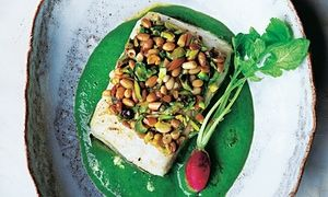 Yotam Ottolenghi's pistachio- and pine nut-crusted halibut with wild rocket and parsley vichyssoise