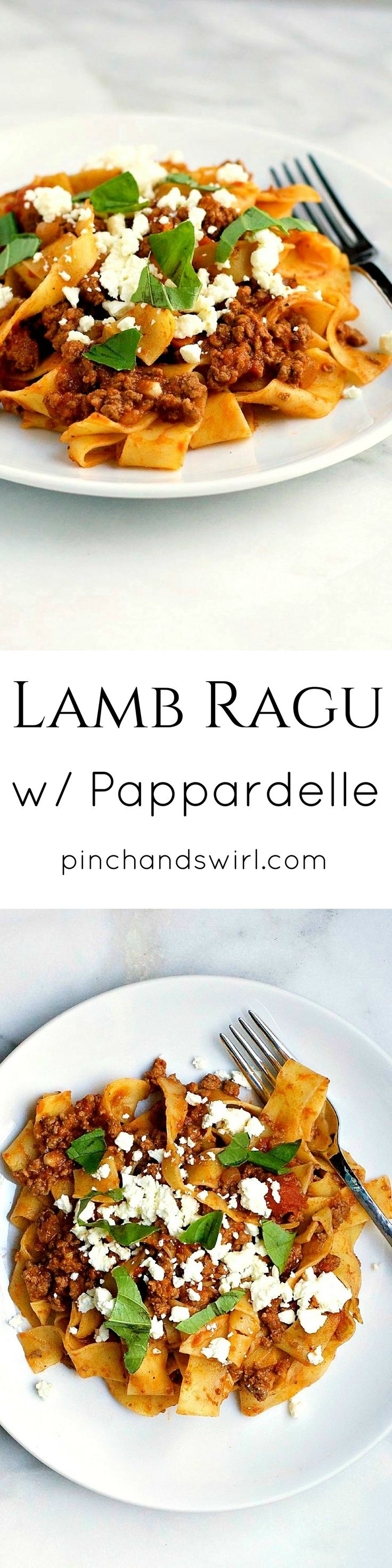 Serve this lamb ragu recipe over hot cooked pasta such as pappardelle or tagliatelle or over hot cooked rice. If desired, top with crumbled feta and fine slivers of fresh basil or mint. @pinchandswirl