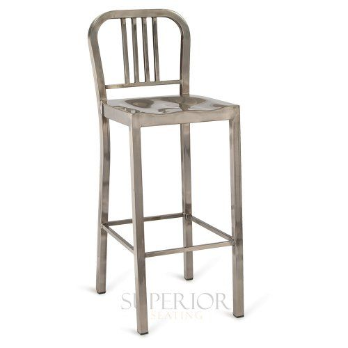 Brushed Clear Navy-Style Rounded Vertical-Back Commercial Bar Stool