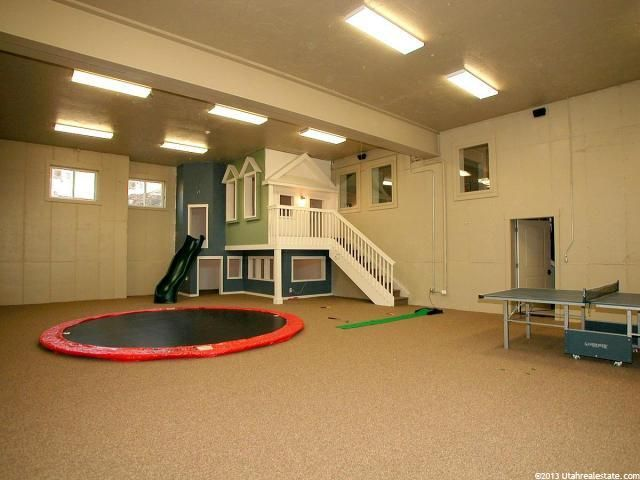 Indoor, underground trampoline...this is so doable when we build our next home. The basement is perfect for a mega playground, and necessary when living in ohio/Pennsylvania.