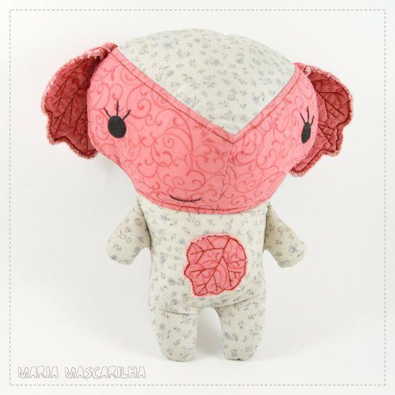 Pretty Alba   stuffed toy for children, grey and pink baby softie, handmade fabric plush doll