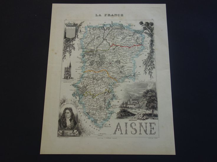 1850 AISNE old map of Aisne departement France - lovely hand colored antique map about Saint-Quentin Soissons Laon vintage maps vielle carte by VintageOldMaps on Etsy