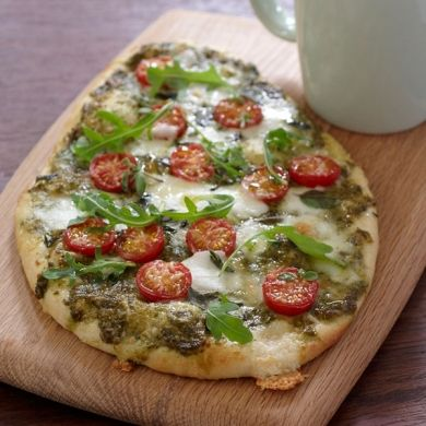 Pesto, Bocconcini and Cherry Tomato Pizza