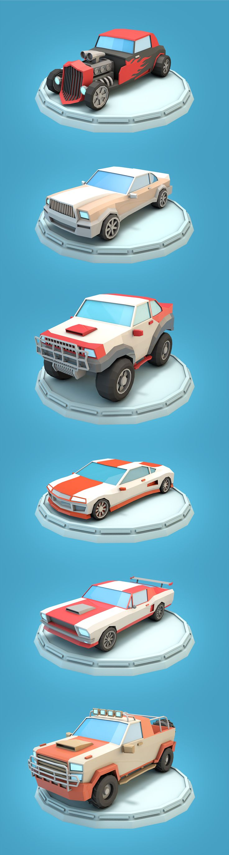 he racing car set consists of six low poly cars and six textures. All cars have UV mapping and ready for game. Formats: max, maya, c4d, blend, fbx, obj