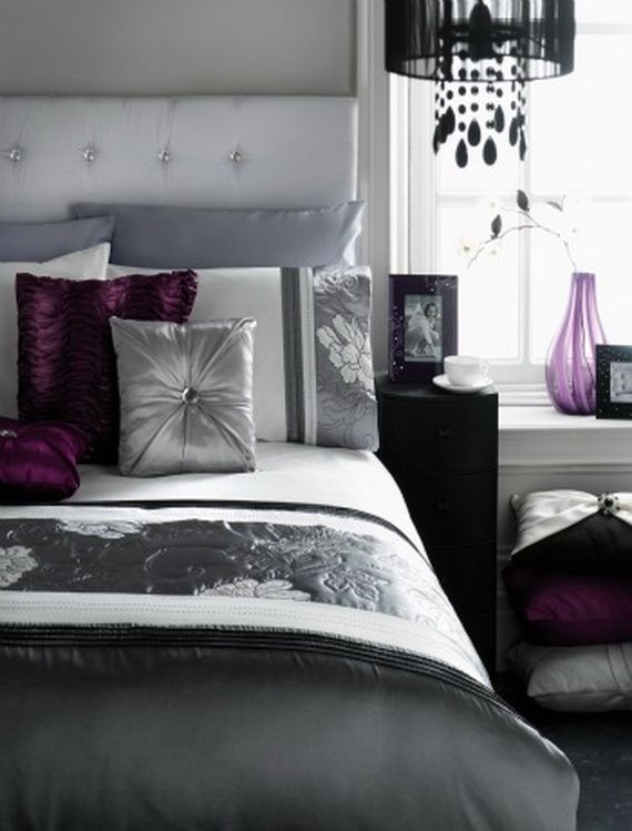 Black grey and plum bedroom