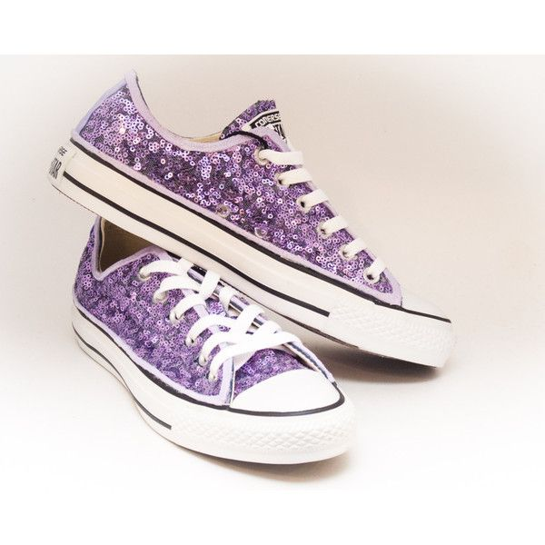 Sequin Lavender Purple Low Top Canvas Sneaker Shoes (155 CAD) ❤ liked on Polyvore featuring shoes, sneakers, purple evening shoes, purple bridal shoes, shiny shoes, low profile sneakers and sequin sneakers