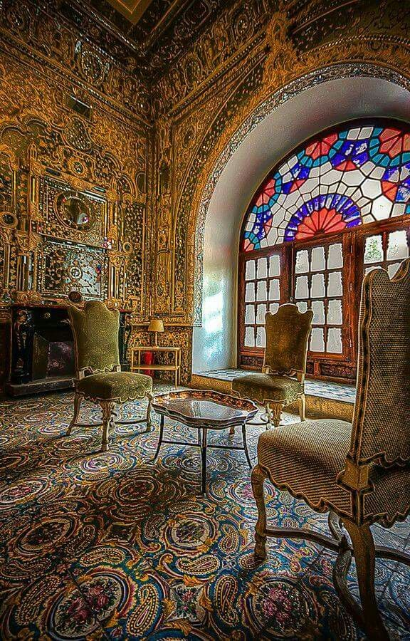 Golestan Palace, Tehran , Iran. Part of iran visual tour series.The entire wall is decorated with Gold and Mirror.-golestan Palace, Persia,