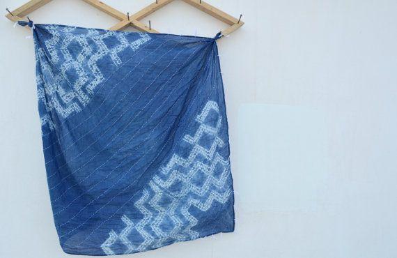 Hand Tie Dye Indigo Shibori Bandhani Scraf by SeenUnseenDesign