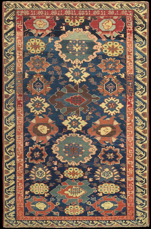 antique caucasian kuba floral carpet azerbaijan aubusson - Aubusson Rugs