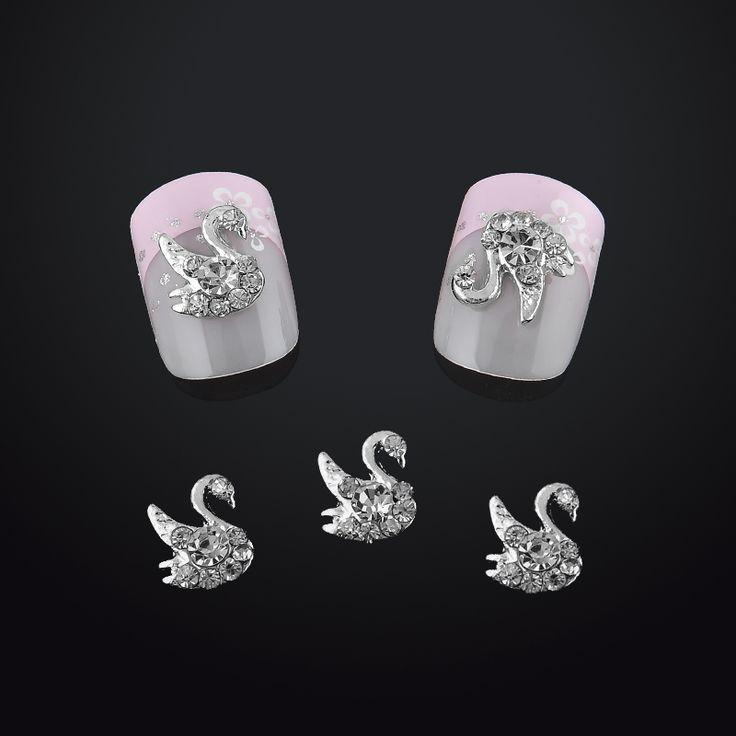 Beauty Swan Nail Art Decorations Tips Glitter Clear Rhinestones Drill 3d Nail Jewelry Nails Tools Free Shipping