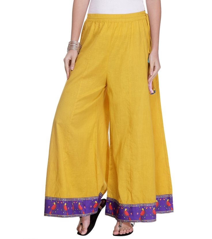 Yellow Printed Cotton Palazzos #fusionwear #ethnicwear #embroidered #printed