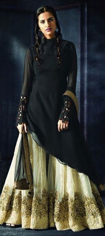 Black never goes out of style ! Eid Special Salwar Kameez by IWS #Palazzo #FlaredPants #sharara 458072 Black and Grey  color family Party Wear Salwar Kameez in Faux Georgette fabric with Machine Embroidery,Thread work .